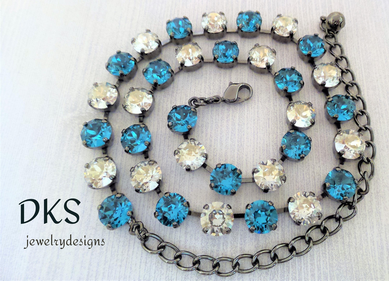 47ab6b53c Del Mar Swarovski 8mm Necklace Bridal Adjustable Blue   Etsy