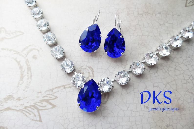 148efa12c Beautiful Majestic Blue Pear Swarovski Bridal Necklace   Etsy