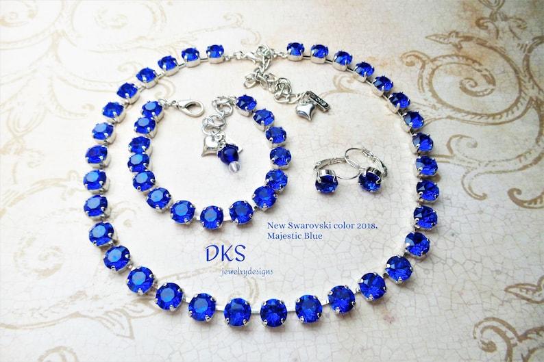 d45c80554 New Swarovski Majestic Blue Crystal 8mm Necklace Best Seller   Etsy