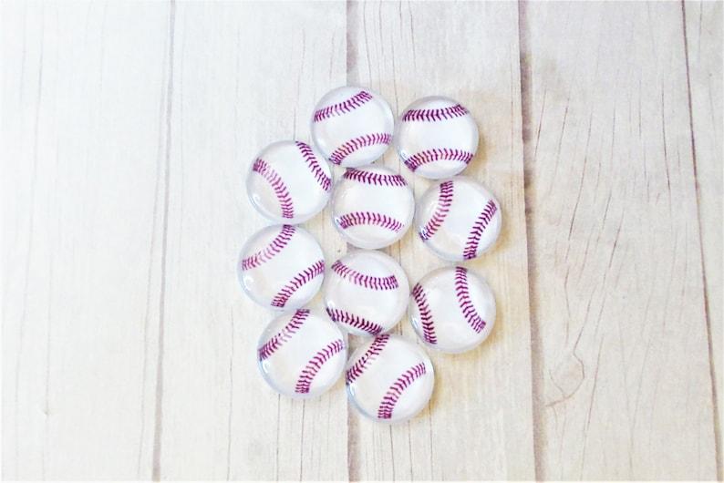 12mm Photo Cabochons 10 Pieces Glass Sports Jewelry DKSJewelrydesigns Round Baseball Supplies