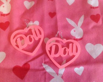 5388874cda Sassy Barbie Pink Glitter Doll Heart Earrings Swag Dope Kawaii Festival  Style
