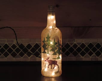 glass bottle lighting cut glass moose and pine trees wine bottle light rustic nightlight lodge decor camp living handcrafted wine etsy