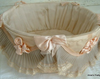 Charming Very Old French Lace Basket A Time Worn Treasure and a Beautiful Keep Sake