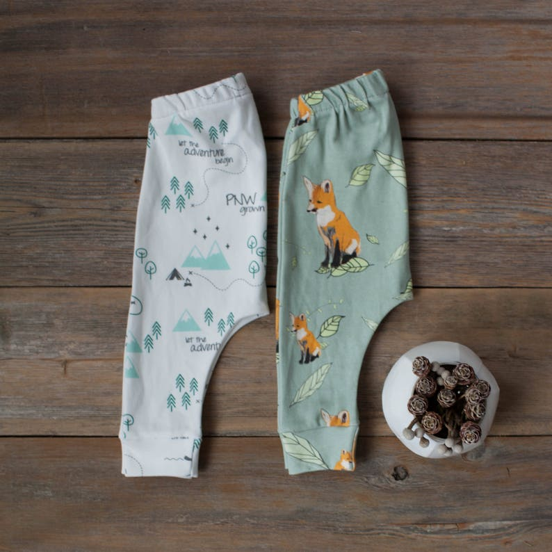 Organic baby leggings baby harem pants pacific northwest