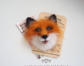 Fox brooch, Needle felted fox, Felt fox