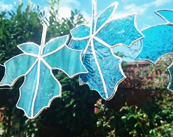 Handmade Stained Glass Maple Leaf - Unique Decorative Item -Mixed Blue/Green Coloured Opalescent Glass Suncatcher