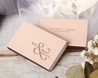 Custom Mr. & Mrs. Match Boxes - Party Favors, Custom Matches, Foil Stamped Matches, Personalized Matchboxes, Reception Decor