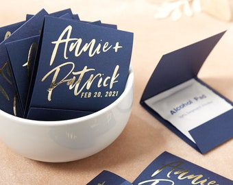 Personalized Hand Wipe Favor -Modern Hand Script - Party and Wedding Favor, Custom printed Favor, Bridal Shower, Handi Wipes