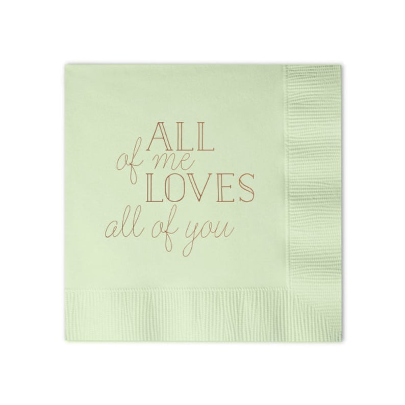 Foil Stamped Napkin Set of 100 Custom Printed Napkin All Of Me Love All Of You Personalized Napkins Party Decoration Romantic Napkin