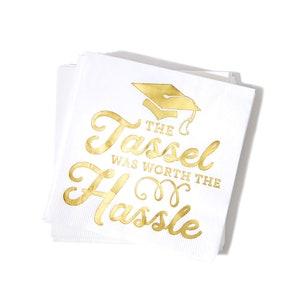 Bundle Includes 32 Cocktail Beverage Napkins in 2 Different Gold Foil Hot Stamped Graduation Designs Graduation Theme Beverage Napkins