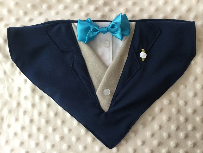 0b3016fb61e Navy dog tuxedo with optional vest and bow tie Collar   Etsy
