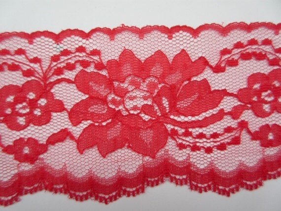 CRANBERRY~3 Inch Wide Floral Flat Lace Trim~By 5 Yards