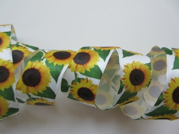 1-1//2-inch Wired Sunflower Ribbon Offray