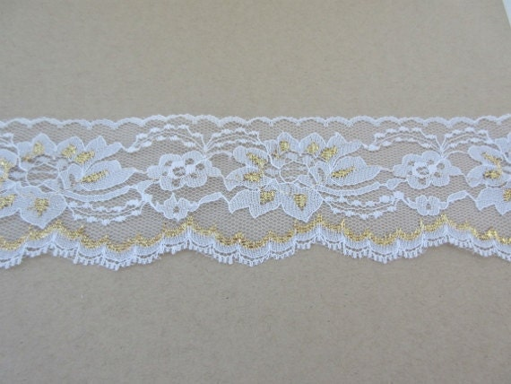 "New Light Blue Ribbon w//White Lace Trim W 1 1//4/"" Quality"