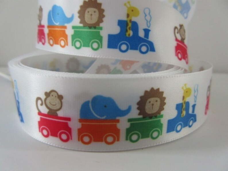Animal Baby Ribbon 7/8 inch wide Train Monkey Giraffe image 0