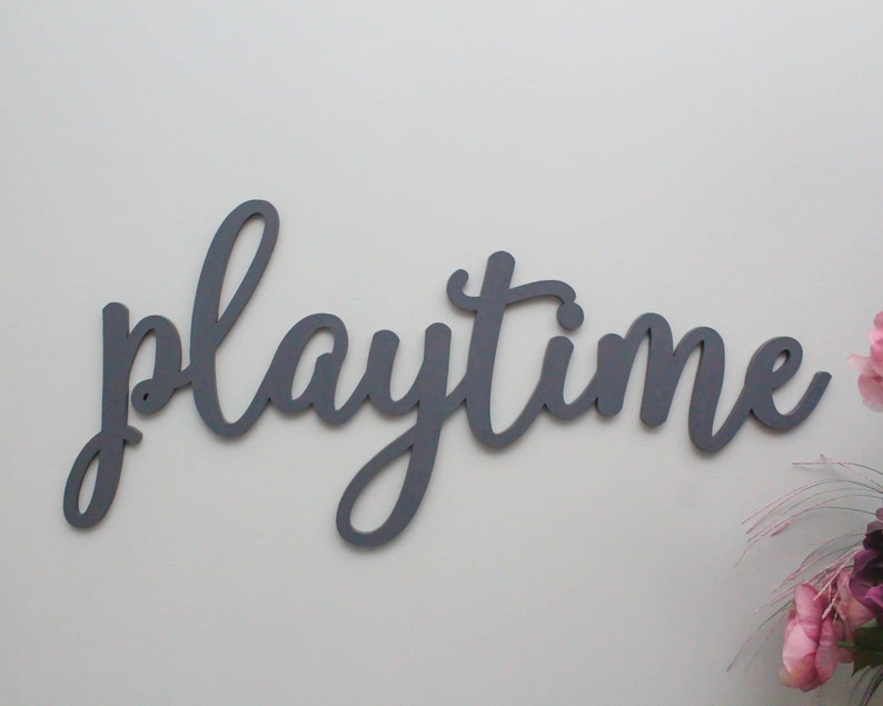 Playtime Wooden Letters Wall Sign Playroom Wall Decor Etsy