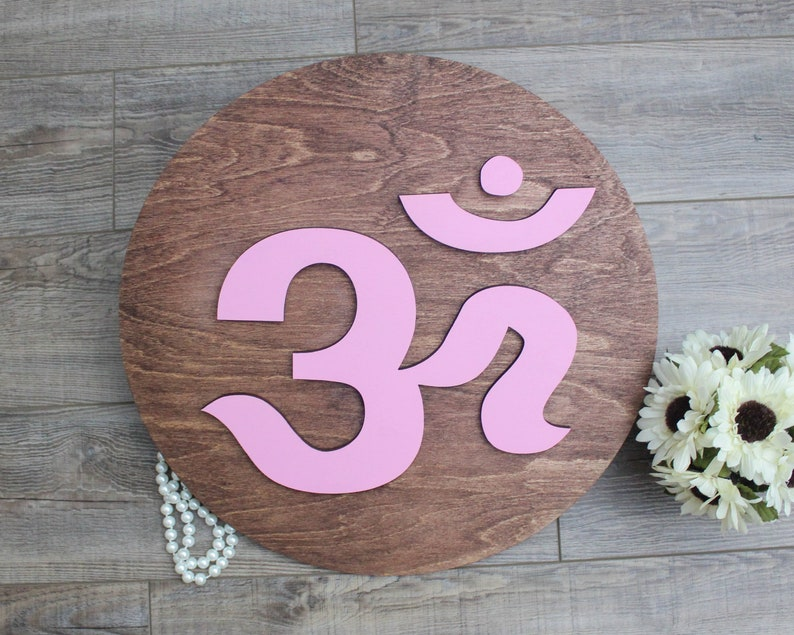 Aum Symbol Sanskrit Aum Wall Art Indian Home Decor Om Round Sign Diwali Decor Yoga Studio Display Om Wooden Sign Hindu Decoration