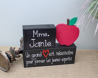 French Teacher Gifts, Personalized Teacher Gifts, End of School Year Teacher Gift Idea, Teacher Wood Blocks Sign, Teacher Retirement Gift