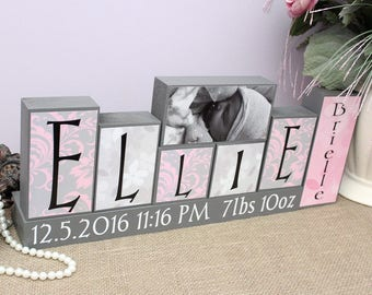 Personalized Baby Name Decor Sign, New Baby Shower Gift, Baby Name Blocks, Kids Name Decor, Birth Stats Blocks with Picture