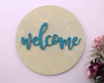 Welcome Sign, Wooden Wall Art, Round Wood Sign, Welcome Wood Sign, Home Decor, Welcome Wooden Sign, Large Wood Sign, Housewarming Gift