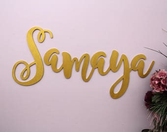 Baby Name Sign, Large Wooden Letters, Nursery Decor, Nursery Name Sign, Nursery Wall Hanging Letters in Script Font, Wedding Letters Decor