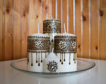 Henna Candle Set of 4 hand made with Swarovski crystals