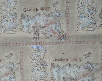 HBO Game of Thrones Cotton map of Westeros Fabric BTY