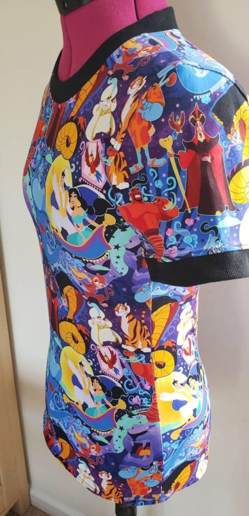 OOAK Disney Aladdin themed Ringer Tee Size Small