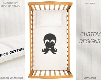 Octopus Duvet Cover Baby Crib Bedding Nursery Comforter Cotton Cot Blanket Bed Fitted Sheet Set Boy Girl Newborn Monogram Custom Design