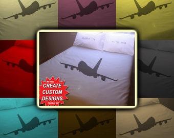 Aviation Airplane Bedding Duvet Cover Queen King Twin Size, Queen Bedding, King Bedding Twin, Kids Queen Duvet Cover, Linen Cotton Sheet Set