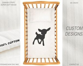 Deer Duvet Cover Baby Crib Bedding Nursery Comforter Cotton Cot Blanket Bed Fitted Sheet Set Boy Girl Newborn Monogram Custom Design