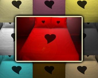Love Heart Red Bedding Duvet Cover Queen King Twin Size, Queen Bedding, King Bedding Twin, Kids Queen Duvet Cover, Linen Cotton Sheet Set