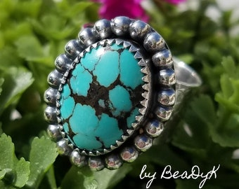 Adjustable Sterling Silver Ring with Turquoise stone Cabochon (size 5 - 10) by BeaDyK