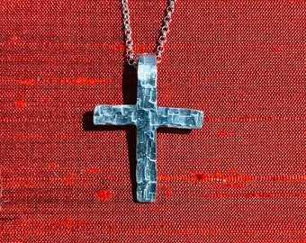 Sterling Silver Cross, 925 Silver, gift for him or her, hand beaten with faceted style, shiny or oxidised finish