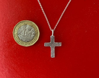Small silver cross, 925 sterling  with hammered Christian Jewellery gift for him or her