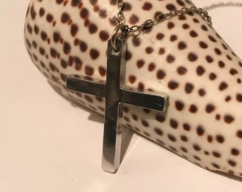 Cross Necklace  handmade sterling silver pendant necklace , polished finish, Gift for Him or her
