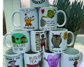 Fun Mugs, Sentimental mugs, friendship mugs, love mugs,