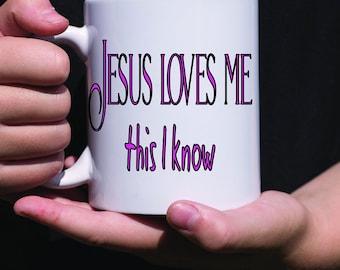 Jesus loves me mug, Christian mug, religious gift, religious tea or coffee mug