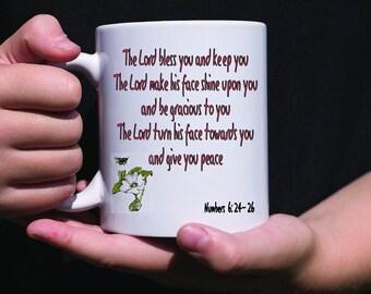 Lord bless you Mug, priestly blessing mug, Numbers blessing coffee mug, Christian mug, Religious Mug , Christian Gift.