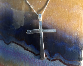 Silver cross necklace handmade shiny sterling silver cross with silver chain a gift for him or her