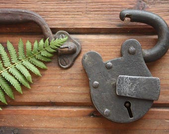 Antique Hobbs & Co. London Padlock ~ Collectable Rustic Steel Lock Made in England ~ Patina Industrial Decor Gift for Him