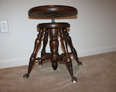 Ball and Claw Foot Piano Stool, Maple Piano Stool, Glass Ball, Metal Claw Foot