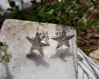 Fine Silver Star Stud Earrings