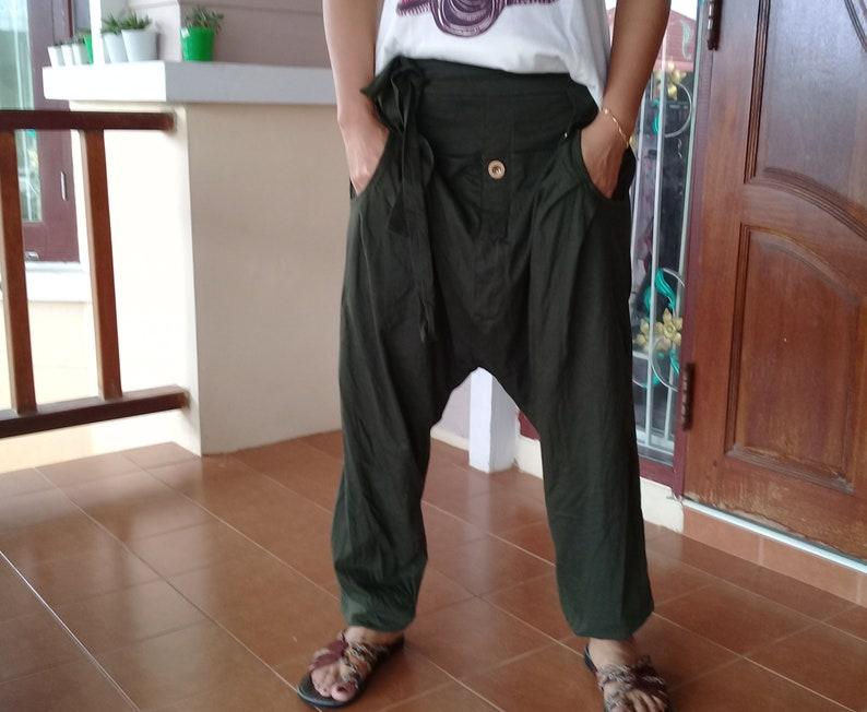 Baggy Pants Trousers Capris Sports  Ninja Pirate Harem Pants Casual  Jersey Dark Olive