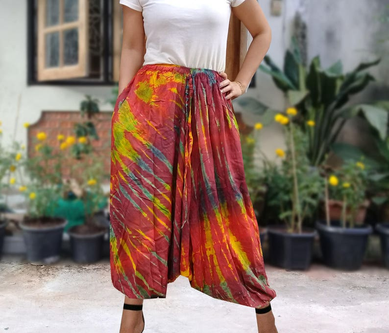 Ladies Handmade Tie Dye Harem Pants  Baggy Pants  With Pockets  Red