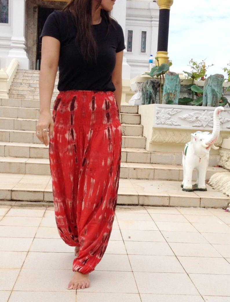 Ladies Handmade Tie Dye Deep Drop Pants  Extra Wide Smock Waist Red