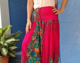Womens Harem Pants Genie Yoga Gym Beach Smocked Flower Fuschia Pink