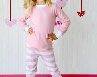 Pink White Stripe Kids Pajamas Monogrammed Pajamas Sibling PJ s Matching  PJ s f258eb0c5
