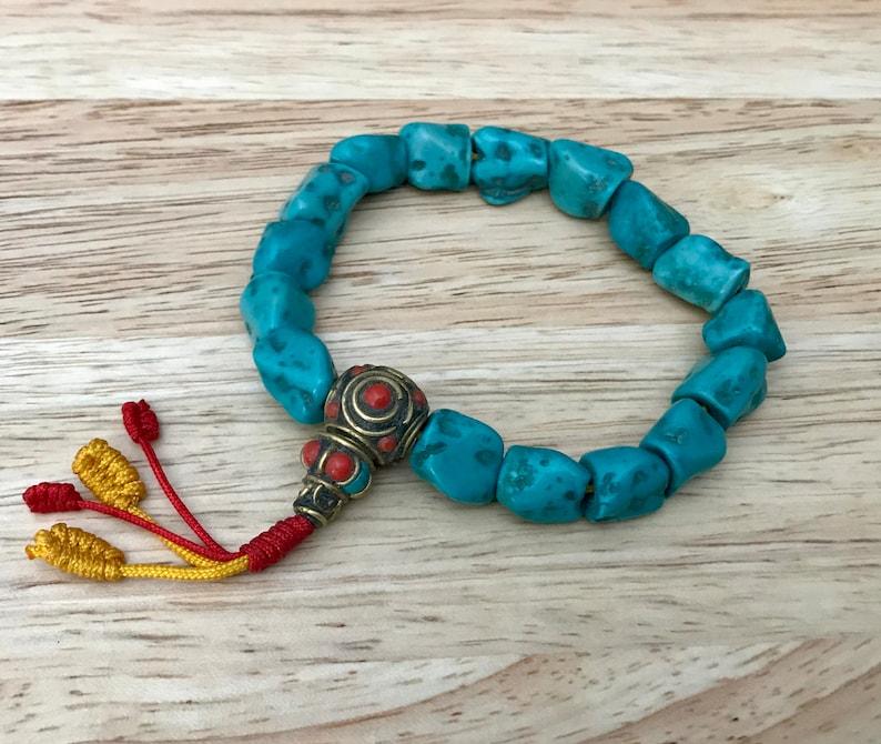 Ethnic Turquoise Coral Resin Beaded Bracelet