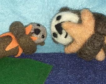 Sea Otter Needle Felted Wool Critter Feltie Magnet or Brooch Pin